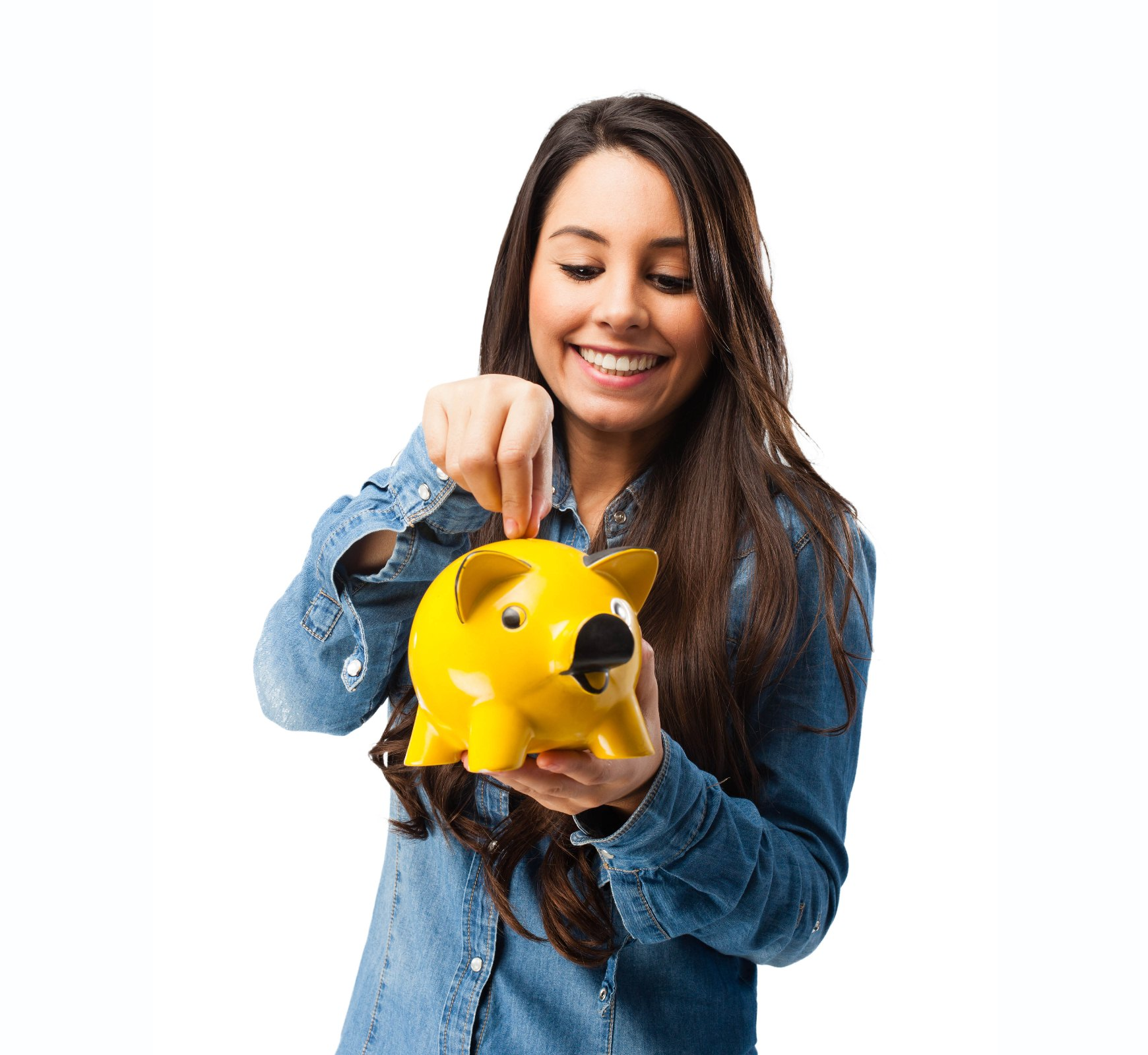 happy young woman with piggy bank